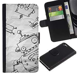 WINCASE Cuadro Funda Voltear Cuero Ranura Tarjetas TPU Carcasas Protectora Cover Case Para Apple Iphone 5 / 5S - divertidos del bosquejo de papel muchacho niños