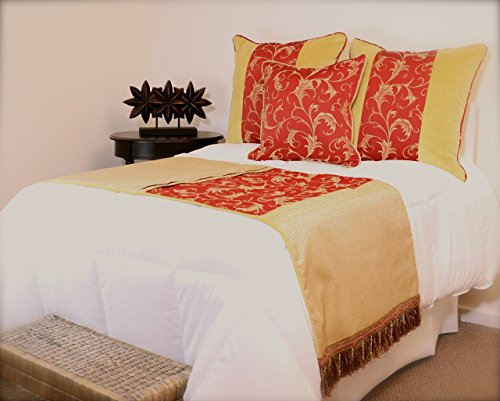 King/Queen Traditional Filigree Gold and Red Bed Scarf , Three Pillows, Velvet Accents and Crystal Trim, Velvet Reverse Backing on Bed Runner by Fabrinique