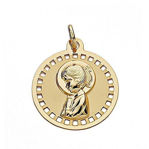 Médaille pendentif Nina Virgin 18k 18mm en or. ajourée circulaire [9033GR] - personnalisable - ENREGISTREMENT inclus dans le prix