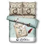 Clocks - 4 Pc. Twin Size Duvet Cover Bedding Set (1 Duvet Cover, 1 Fitted Sheet, 1 Sham, 1 Pillow Case) - SAVE BIG ON BUNDLING!