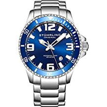 Stuhrling Original Mens Swiss Quartz Stainless Steel Sport Analog Dive Watch, Water Resistant 200 Meters, Blue Dial, Aqua-diver 395.33U16