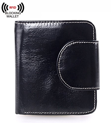 AINIMOER Women's Small Billfold Genuine Leather Tri-Fold Wallet with Zipper Pocket(Black)