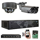 GW Security AutoFocus 4X Optical Motorized Zoom IP Camera System, 8 Channel H.265 4K NVR, (2) Bullet & (2) Dome 5MP HD 1920P Weatherproof POE Security Camera