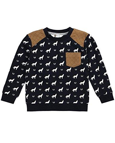 (Petit Lem Boys' Little Wolf Pack Knit Sweatshirt, Navy, 5)