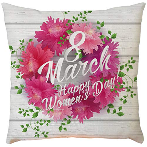 Qingell Mother's Day Throw Pillow Covers Happy Mother's Day Decorative Cushion Cover Cotton Linen Pillowcase Home Decor 18x18 Inch ()