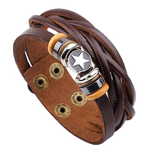 Fariishta Jewelry Multi Strand alloy beaded pentagrams Leather Wrap Bracelet(brown)