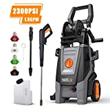 Pressure Washer 2300 PSI 1.8 GPM High Efficiency Electric Power Washer, Pressurized Hose Reel, Detergent Tank and Rotating Nozzle Gun, for Cleaning Car, Patio, Wall, Furniture, Barbecue