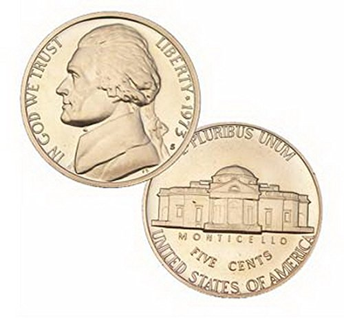(1973 S Us Mint Jefferson Proof 5 Cent Nickel Coin)