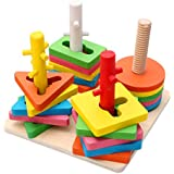 Wood Collection(TM) Creative Wooden Colour and Shape Geometric Sorting Board - Stack & Sort Puzzle Toys for 3 Year Old and Up - Perfect Christmas Gift for Your Kids