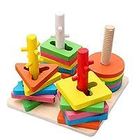 Holzsammlung Creativo Colori e Forme Impilatore Geometrico Puzzle di Legno per 36 Mesi e più