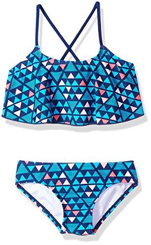 Kanu Surf Little Girls' Alania Flounce Bikini Beach Sport 2-Piece Swimsuit, Jade Navy, ()