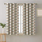 Jinguizi Mid Century Modern Grommets Curtain Living Room,Circles Dashes and Blemishes,Blackout/Room Darkening Curtains,72W x 63L