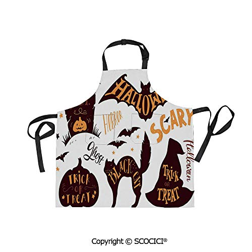 SCOCICI Unisex Waterproof and Dirty Resistant Printing Kitchen Apron,Halloween Symbols Trick or Treat Bat Tombstone Candy Scary Decorative,for Cooking Baking Gardening ()