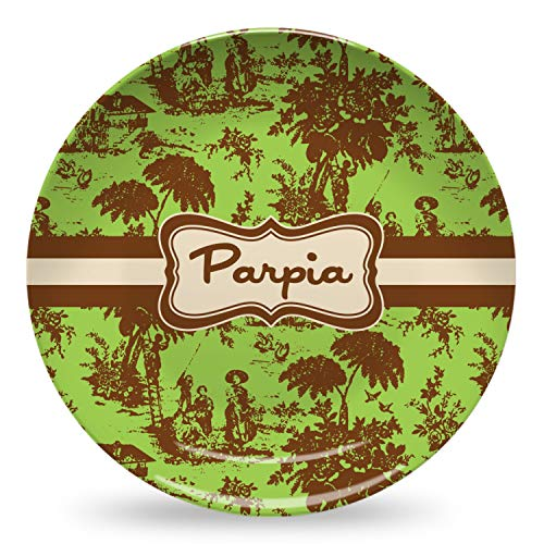 Green & Brown Toile Microwave Safe Plastic Plate - Composite Polymer (Personalized) (Plates Toile Brown)