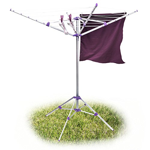 Relaxdays Wäschespinne 19 m H x B x T: ca. 158 x 167 x 167 cm mobiler Wäscheständer mit Standfuß und 4 Seiten zum Zusammenklappen und Tragen aus Aluminium für Garten, Balkon und Camping, silber