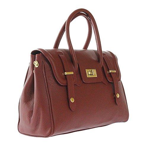 Italie fabriqué cm cuir italien Rouge CTM femmes et Sac en 34x23x13 gère bandoulière en véritable main à qZvqpwn8F