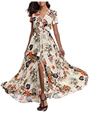 1stvital Women's Fancy Floral Print Short Sleeve Button Up Split Boho Summer Beach Maxi Dress