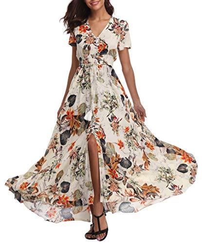 1stvital Women's Fancy Floral Dresses Boho Maxi Summer Beach Dress Short Sleeve Button Up Split, XL
