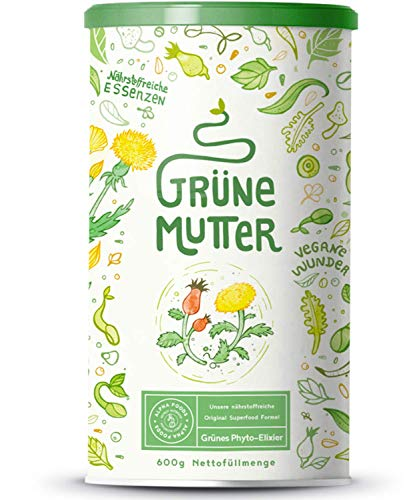 Grüne Mutter | Smoothie Pulver | Das Original Superfood Elixier u.a. mit Weizengras, Brennnessel, Mariendistel, Braunalge, Alfalfa, OPC & weiteren Superfoods | Mit Coenzym Q10 | 600 Gramm