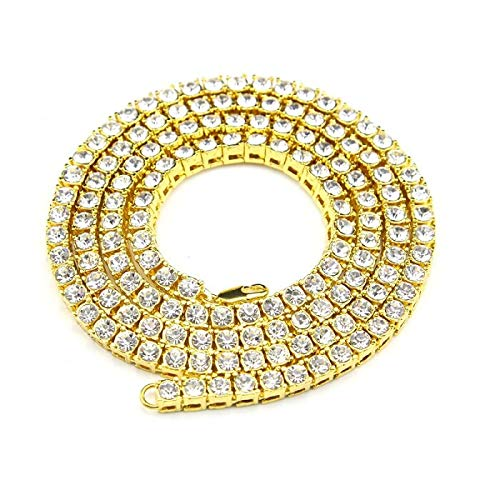 (LTH12 Chain Necklaces - Mens Hip hop Necklace Iced Out 1 Row Rhinestone Choker Bling Crystal Tennis Chain Necklace 18inch-32inch Drop Shipping 1 PCs)