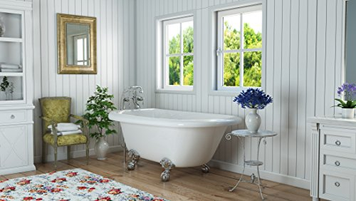 Luxury 54 inch Small Clawfoot Tub with Vintage Tub Design in White, includes Polished Chrome Ball and Claw Feet and Drain, from The Highview Collection by Pelham & White (Image #1)