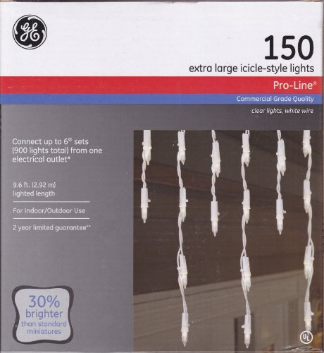 150 Count GE Extra Large Pro-Line Icicle-Style Lights with White Wire - Commercial Grade Quality by GE