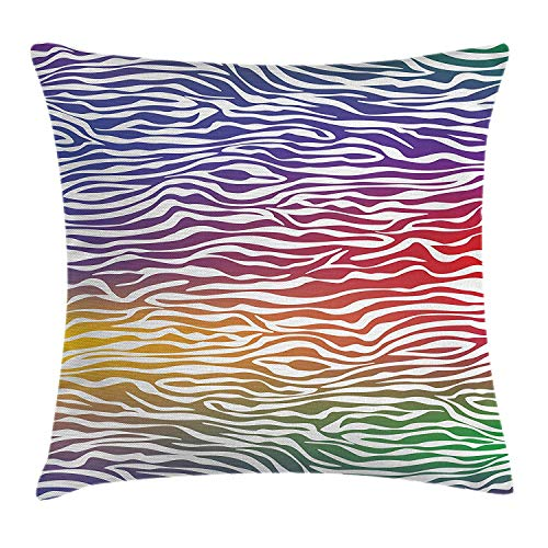 (MHKLTA Safari Throw Pillow Cushion Cover, Abstract Zebra Skin Pattern Geometric Horizontal Lines Stripes Illustration, Decorative Square Accent Pillow Case, 18 X 18 Inches, Purple Red Yellow)