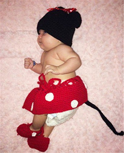 YouPei® bebé recién nacido crochet tejer sombrero traje foto fotografía prop  outfits (rojo) 180ea826804