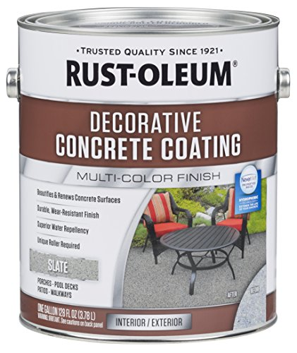 Porch Deck Paint (Rust-Oleum 301304 Slate Decorative Concrete Coating)