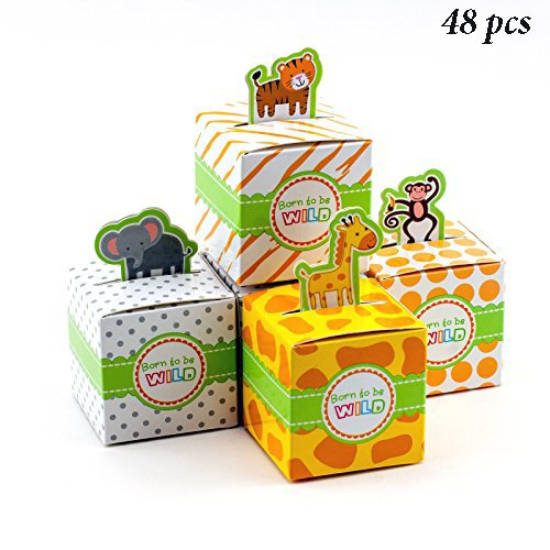 Adorox Small 48 Pcs Born To Be Wild Adorable Jungle Safari Zoo Theme Baby Shower Favor Candy Treat Box Cute Birthday Decoration (Assorted (48 Pieces)) (Birthday Themes Decoration)