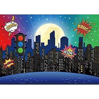 Amazon.com : Cartoon Super City Themed Photography Backdrop ...
