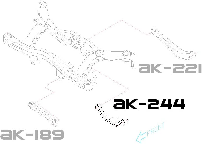 Set of 2 Godspeed AK-244-B Adjustable Rear Camber Arms With Spherical Bearings