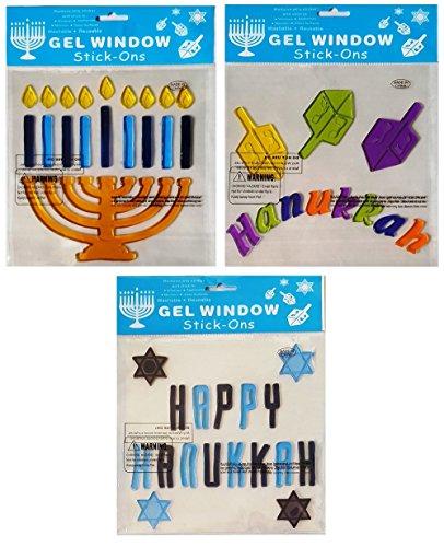 Happy Hanukkah Star (Hanukkah-Chanukah Holiday Window Gel Clings - Menorah with Candles, Stars of David, Dreidels, and
