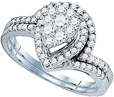 0.81 Carat (ctw) 10K White Gold Round Diamond Soli Star Ladies Bridal Wedding Ring Set 3/4 CT 5156Z0UOfrL