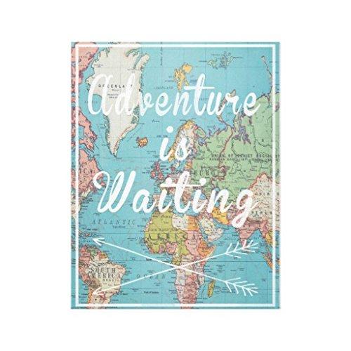 Adventure Is Waiting Vintage World Mapキャンバスの壁アートホーム装飾木製フレーム12