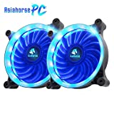 Asiahorse Solar Eclipse UAV 120mm Dual Aperture LED Long Life Case Fan,PC Custom Diy From Water Cooling System CPU Cooler 2PACK(Blue)