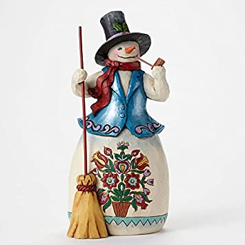Jim Shore for Enesco Heartwood Creek Snowman with Pipe Figurine, 8.125