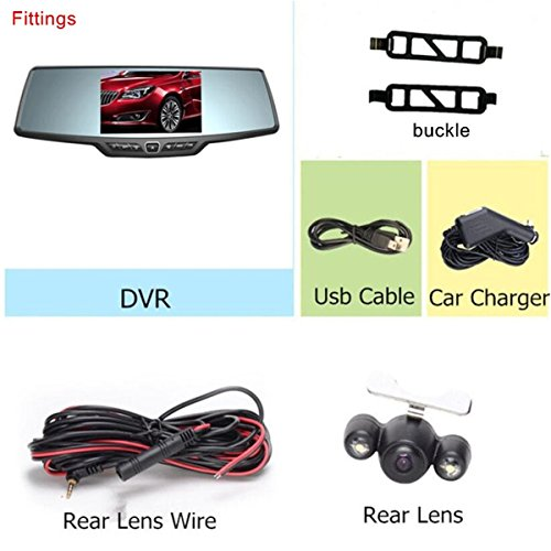 Dash Cam,4.3'' Full HD 1080P Rearview Mirror Dual Lens Video Recorder Car DVR 170 Degree Wide Angle, Loop Recording,G-Sensor,Parking Monitor,Reverse Image by Range Tour (Image #7)