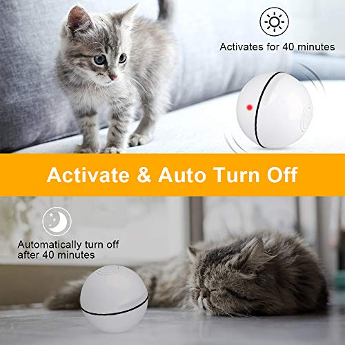 Unibelin Interactive Cat Toy Ball-Smart Pet Toy Self Rotation Rolling Ball USB Rechargeable Built-in LED Light for Cat Kitty Exercise Chase Play 6