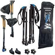 York Nordic Folding Walking & Hiking Poles - 15.5 in Travel Size with Rubber Feet, Baskets, and