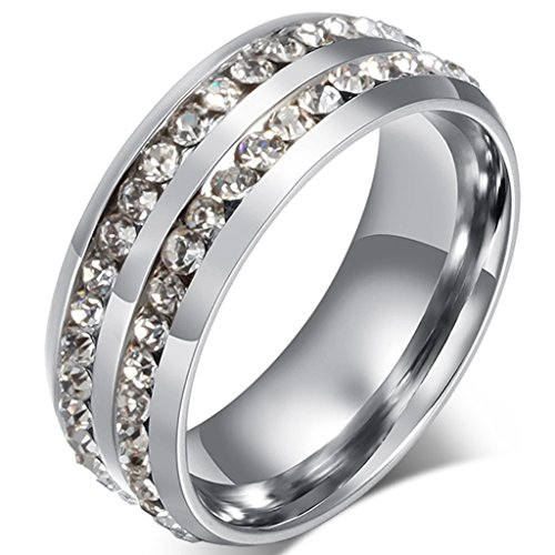 8mm Double Row Band Ring - FENDINA Mens Womens Classic Titanium Steel 8MM Double Row CZ Crystals Wedding Engagement Band Rings High Polished Finish Comfort Fit