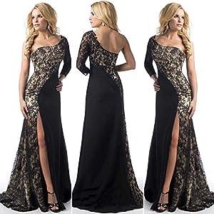 neudas Women Party Oblique Collar Patchwork Split Hem Pleated Sexy Dress Dresses