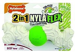Nylabone Nyla Flex Large Wavy Arm Bone Dog Chew Toy (Beef)