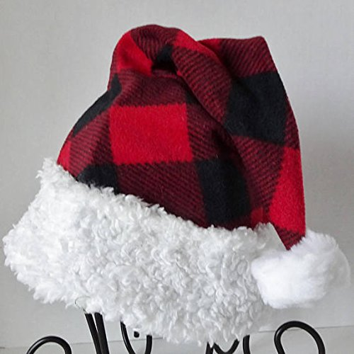 amazon com red and black buffalo check fleece santa hat novelty