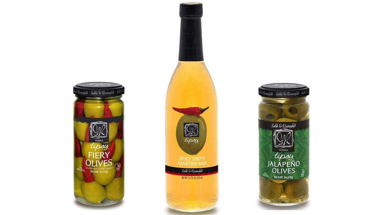 Sable & Rosenfeld Spicy Martini Gift Set - One 5oz jar of each; Fiery Olives Stuffed with Turkish Peppers & Vodka Jalapeno Stuffed Olives and One 12oz bottle of Spicy Martini Mix by Sable & Rosenfeld