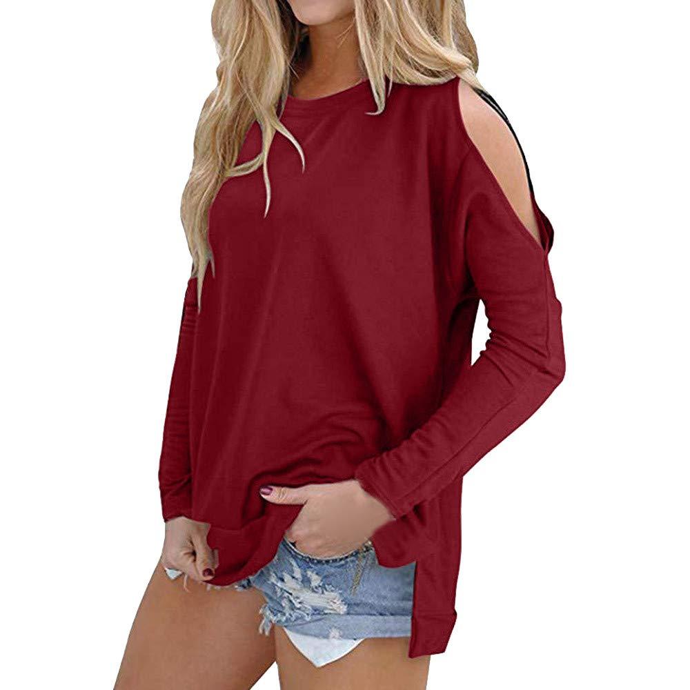 Jersh-Women Sweatshirt, Casual Cold Shoulder Long Sleeve O Neck Warm-Up Tops Mature Temperament Blouse Ladies Pullover(HOT!!!)