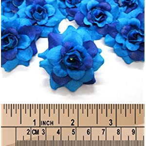 "(100) Silk Two Tone Blue Roses Flower Head - 1.75"" - Artificial Flowers Heads Fabric Floral Supplies Wholesale Lot for Wedding Flowers Accessories Make Bridal Hair Clips Headbands Dress 4"