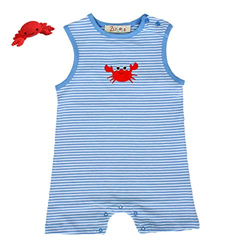 Zubels Baby Boys' Cotton Knit Crab Romper & Matching Crab Rattle, 12 Months, Blue