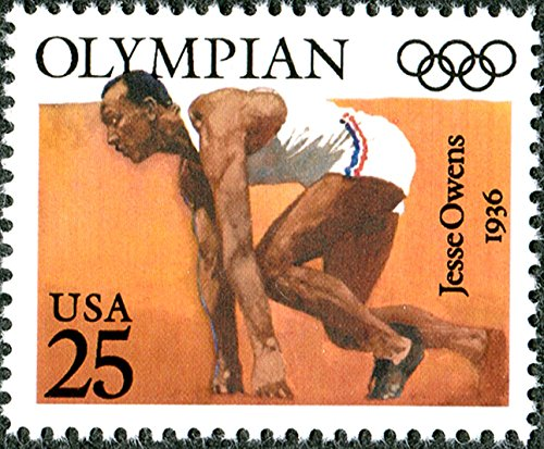 Single 1990 25 Cents US Postage Stamp, Scott# 2496, Olympics Issue, Jesse Owens ()