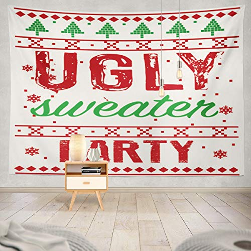 Soopat Tapestry Polyester Fabric Christmas Invitation Ugly Sweater Party Wall Hanging Tapestry Decorations Bedroom Living Room Dorm 80X60 inch ()
